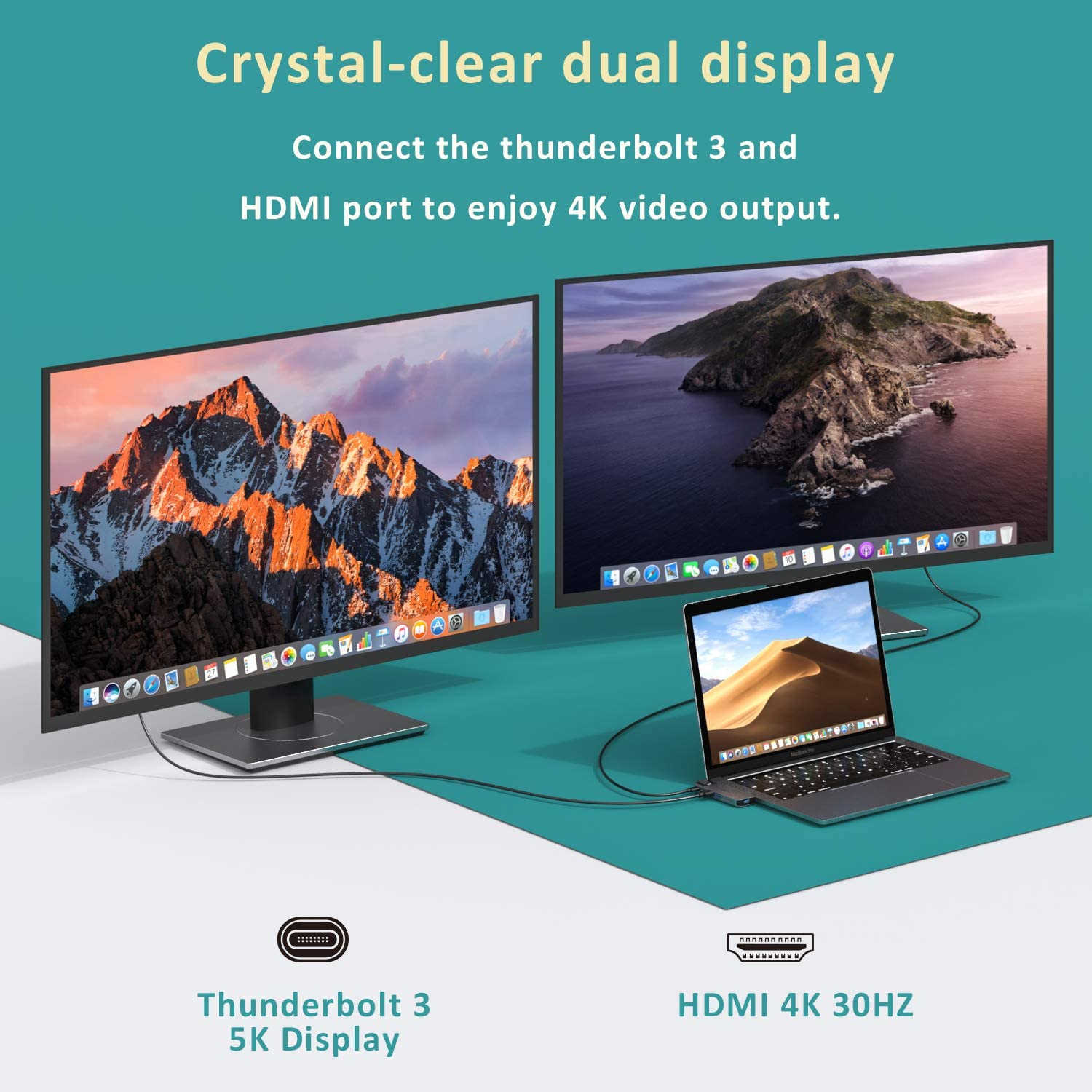 Gigabit ethernet USB C to HDMI Adapter for MacBook Pro//Air with 4K HDMI Port USB-C 100W PD and Thunderbolt 3 8-in-1 MacBook Docking Station TF//SD Card Reader MacBook Pro USB C Adapter 2 USB 3.0