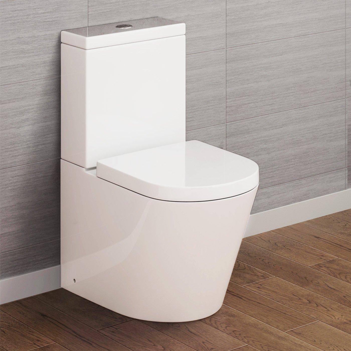Luxury Bathroom White Gloss Close Coupled Toilet Cistern Pan + Seat iBathUK