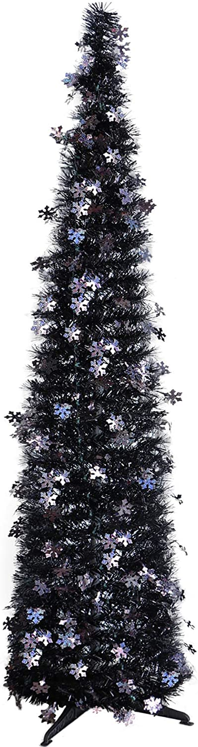 5 FT Upgraded Collapsible Atrificial Pencil Slim Christmas Tree, Pop Up Tinsel Xmas Tree for Small Spaces, Aparment, Store, Office, Corner, Halloween, Christmas Decoration (New Black)