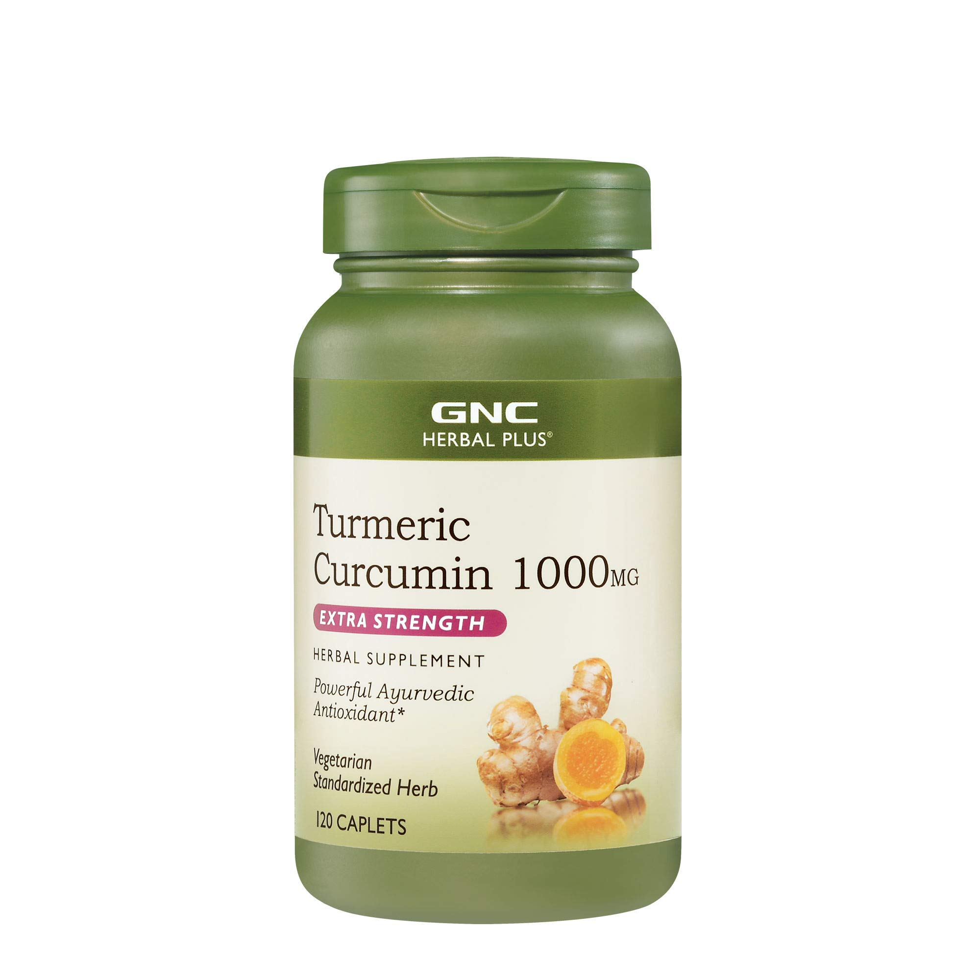 GNC Herbal Plus Turmeric Curcumin 1000mg Extra Strength, 120 Caplets, Powerful Ayurvedic Antioxdant