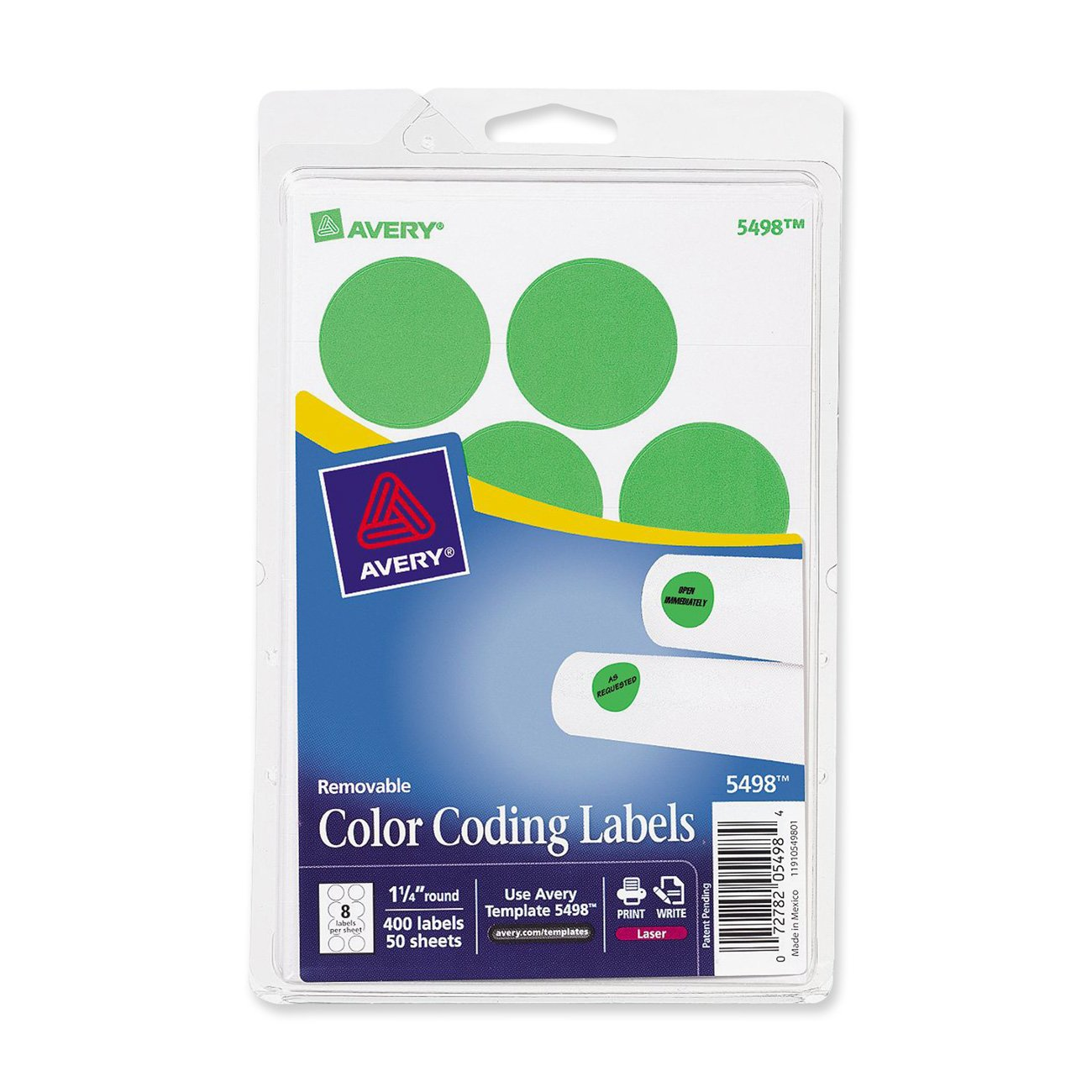 amazoncom avery 5498 removable print or write color coding labels for laser printers 1 14 round neon green pack of 400 office products - Avery Colored Labels