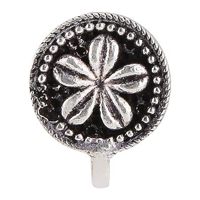 2448f4b5921 Efulgenz Indian Oxidised Silver Finish Round Shape Wonderful Press On Nose  Clip Ring  Pin for Girls and Women  Amazon.co.uk  Jewellery