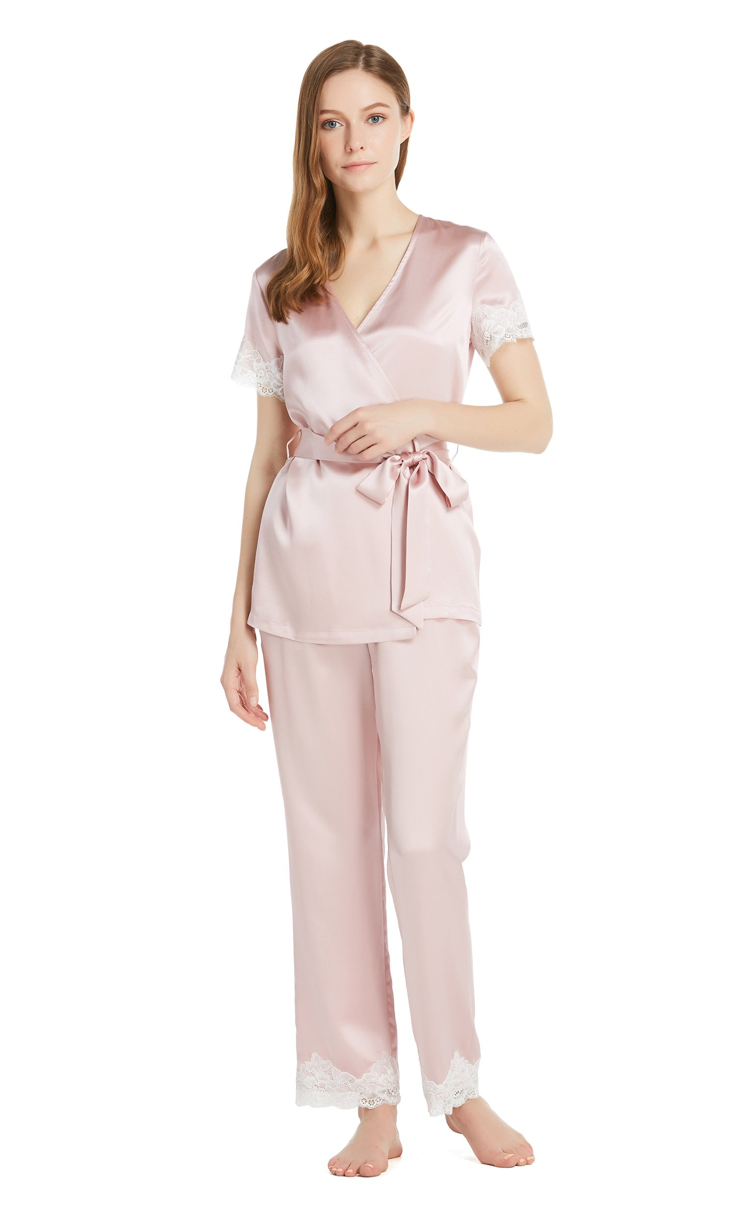 LilySilk Silk Pajamas for Women Short Sleeve Lace Robe Style Top Long Pant 22 momme Pure Mulberry Elegant Sleepwear Rosy Pink XS/0-2 by LilySilk
