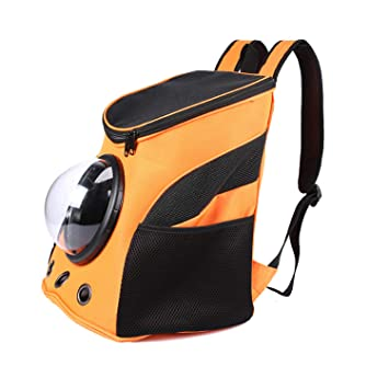 FGJFA Pet Cat Backpack Carrier PU Cats Mochilas Small Dog Sporty Travel Soft-Sided Bolsa De Hombro Portátil Mochila Portátil para Mascotas Small Dog ...