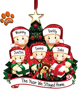 Opening Gifts Family Wearing Face Masks - 5 - Personalized Christmas Ornament - Pandemic - Stay at Home - Free Personalization - Perfect Handwriting