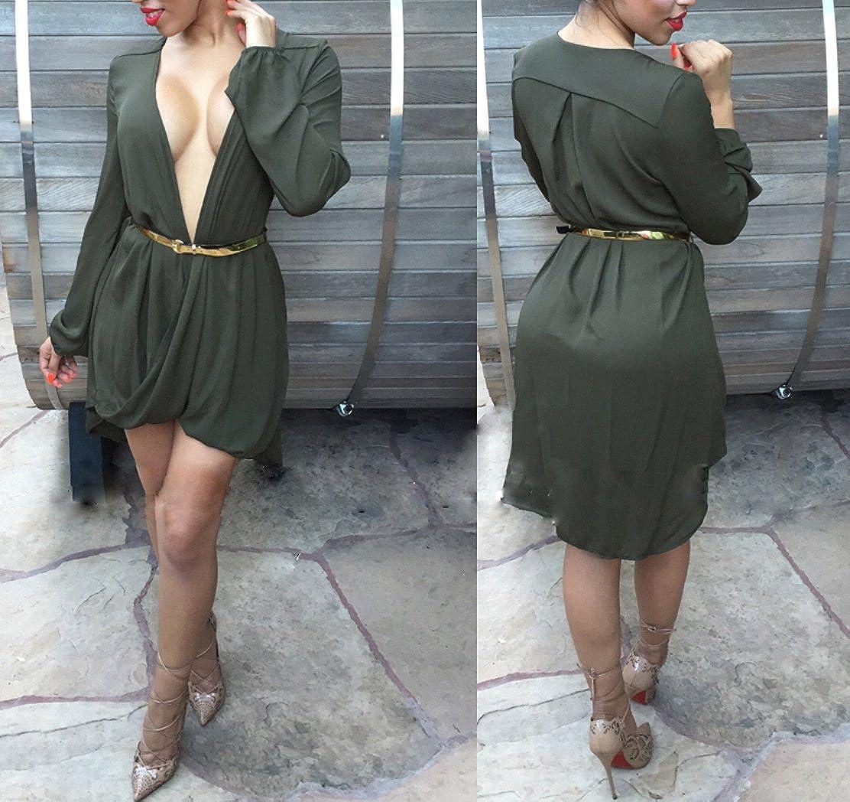 Women Elegant Deep V Neck Long Sleeve Clubwear Asymmetral Casual Party Mini Shirt Dress at Amazon Womens Clothing store: