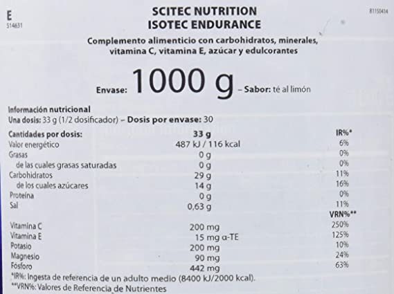Scitec Nutrition Isotec Endurance Té al limón 1000 g: Amazon.es: Alimentación y bebidas