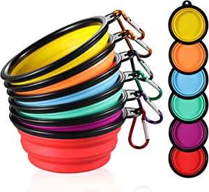 ME.FAN Collapsible Dog Bowl Travel Portable Dog Bowl(12oz) Silicone Foldable Travel Bowl/Pet Food Bowl/Cat Water Bowl/Silicone Pet Expandable Bowls + Carabiners Per Set