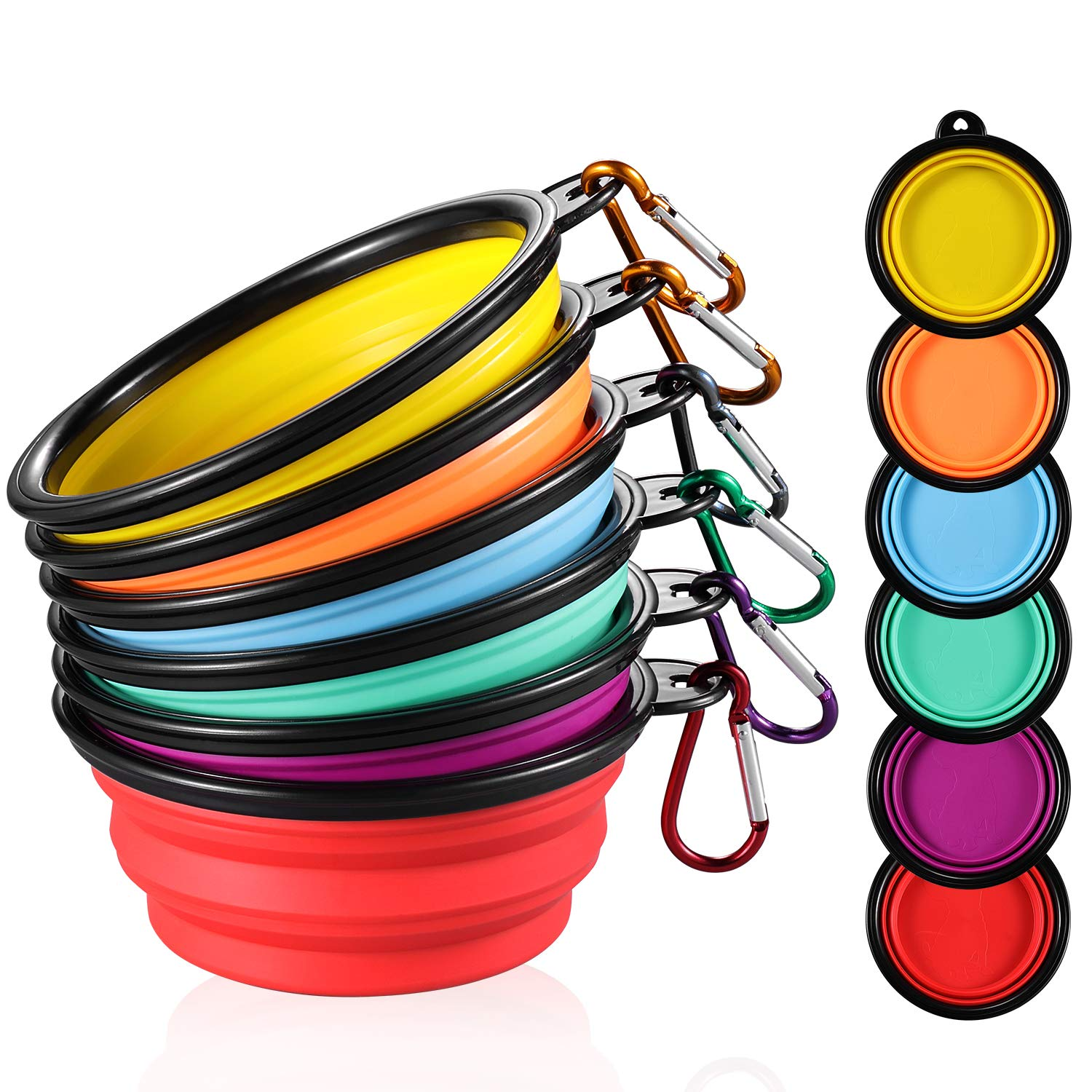 ME.FAN Collapsible Dog Bowl [6-Pack] Travel Portable Dog Bowl(12oz) Silicone Foldable Travel Bowl/Pet Food Bowl/Cat Water Bowl/Silicone Pet Expandable Bowls + 6 Carabiners Per Set (Black Rimmed by ME.FAN