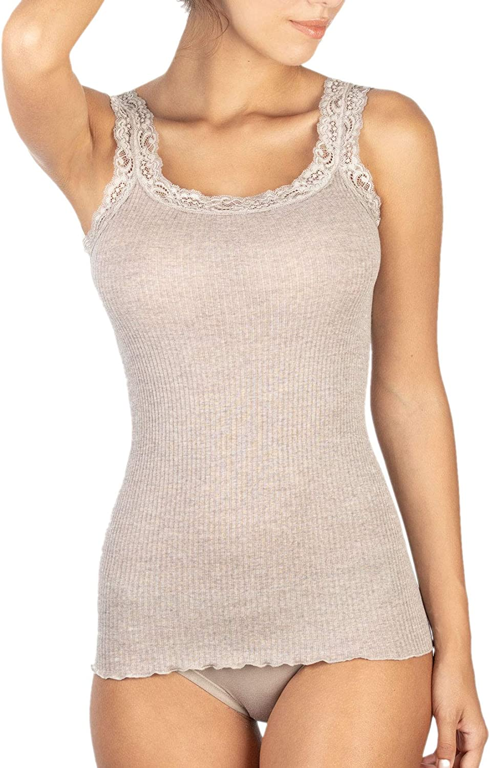 EGI Womens Tank Top with Lace Edging in Wool 85/% and Silk 15/% Ribbed