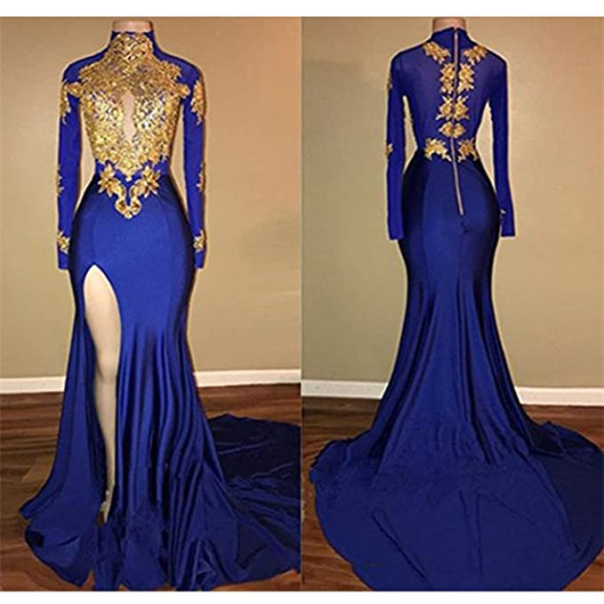af28d0a3279 KapokBanyan Mermaid High Neck Long Sleeves Prom Dress 2018 New Gold  Appliques Split Evening Gowns at Amazon Women s Clothing store