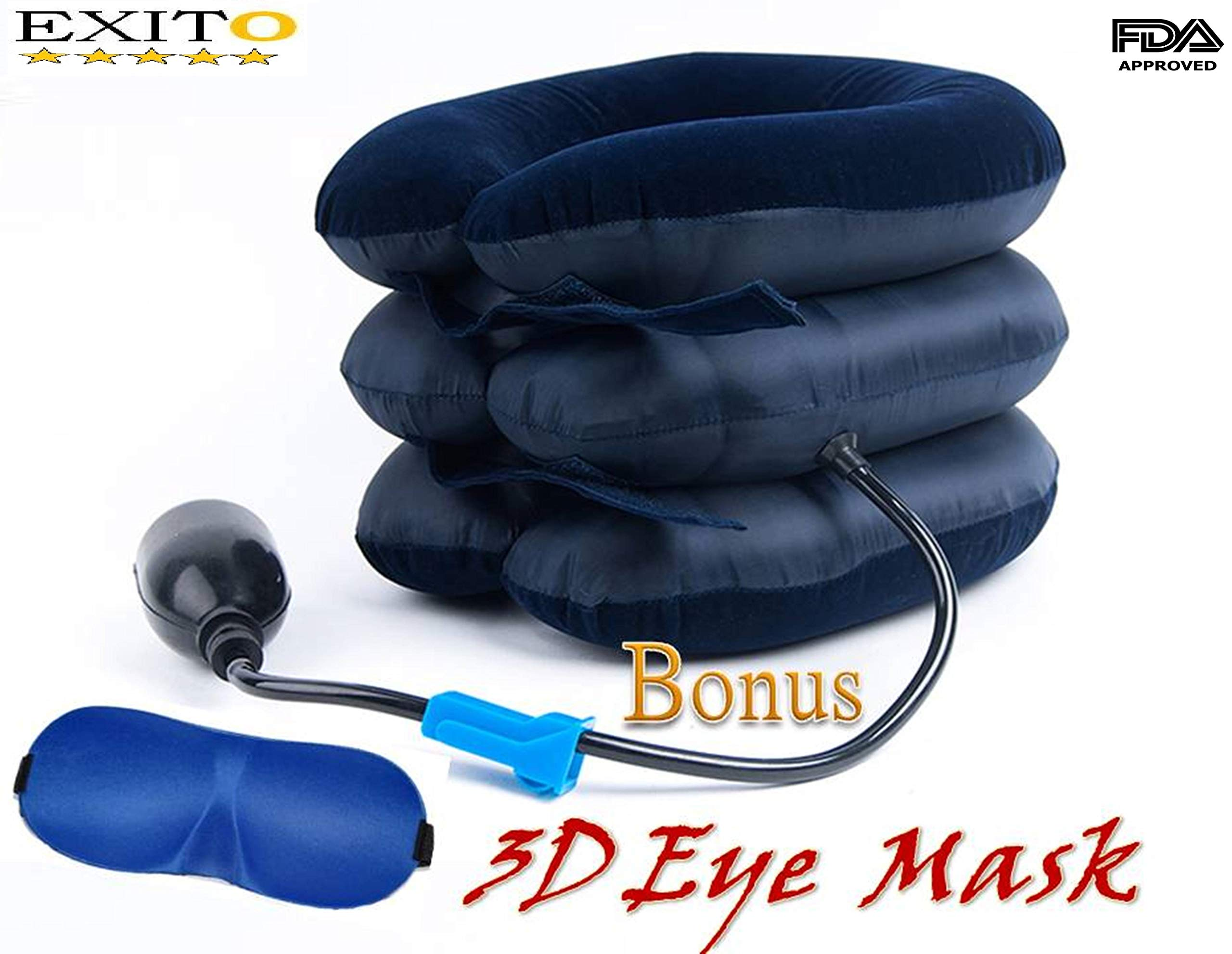 Cervical Neck Traction Device Inflatable Pillow,FDA Registered, EXITO Effective and Instant Relief for Chronic Neck and Head & Shoulder Pain Extra Bonus Eye Mask, Cervical tracción
