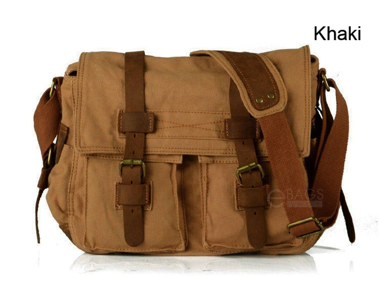 Travelogy Luggage Khaki Mens Military Canvas Leather Satchel School 14 Laptop Shoulder Messenger Bag