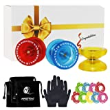Responsive YoYo MAGIC YOYO K1 Pack, 3 yo yos with 3Yoyo Bags/Sacks + 9Strings + Yo-Yo Gloves(Crystal yellow&blue&red)