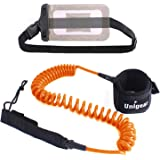 Premium 10' SUP Leash Coiled Paddle Board Leash (11 Colors) with Waterproof Wallet for Standup Paddle and Surfboard Surfing