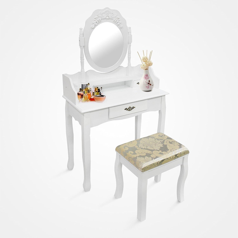 Domaier - Table de Maquillage - Coiffeuse - 3 tiroirs - miroir oval cadré - Blanc - Matériau: Bois de Paulownia