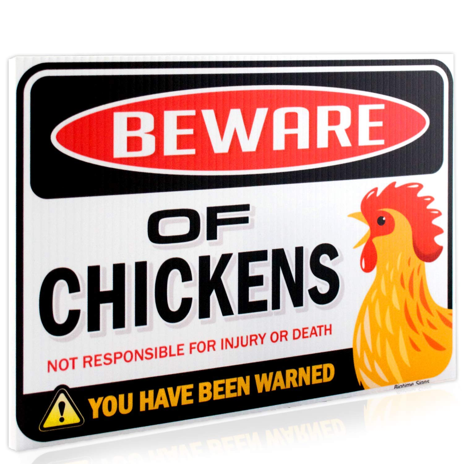 "Beware of Chickens Warning Sign | 9"" x 12"" 