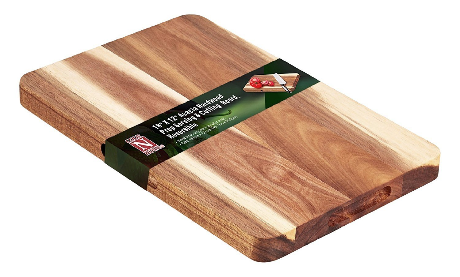 Cook N Home 18'' x 12'' Wooden Cutting & Serving Board, Acacia Hardwood, Reversible