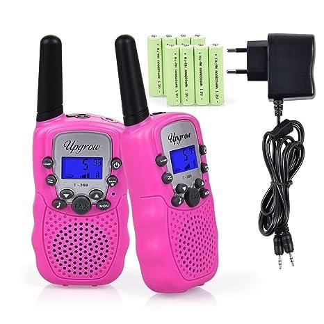 Upgrow RT-388 Walkie Talkie Funkgerät für Kinder mit Wiederaufladbaren Akkus, Kinder Funkgerät Funk Handy, 8 Kanäle mit LCD-D