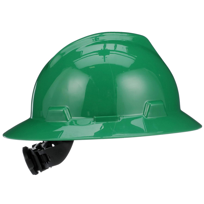 43d9971cc66 MSA 475370 V-Gard Hard Hat Full Brim with Ratchet Suspension ...