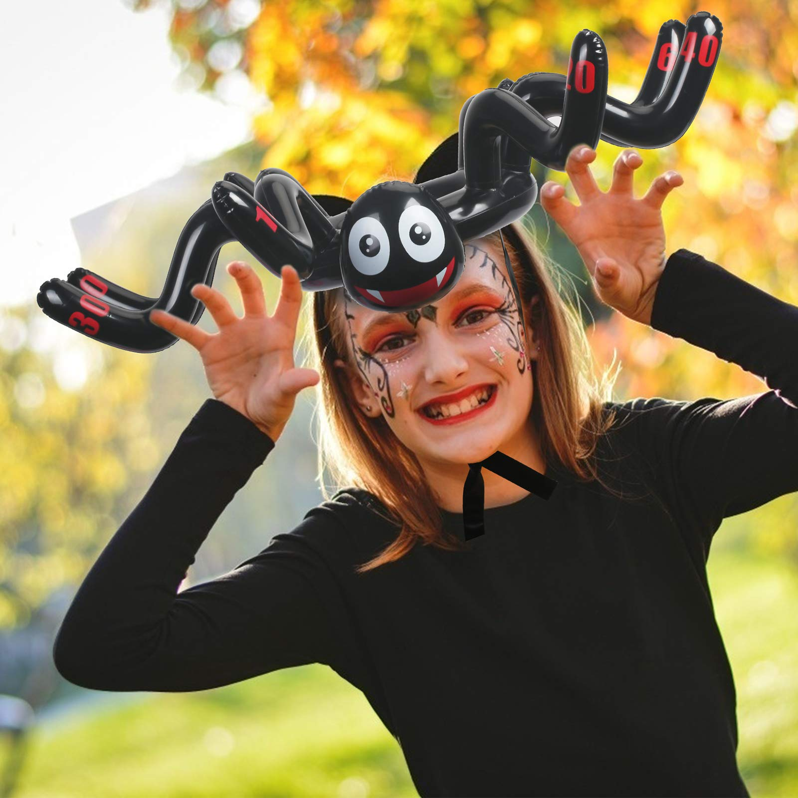 KATOOM Halloween Inflatable Ring 2 Pcs Toss Games Inflatable Spider Toy Hat with 12 pcs Rings for Halloween Party Supplies Kids Family Toys Indoor and Outdoor Games