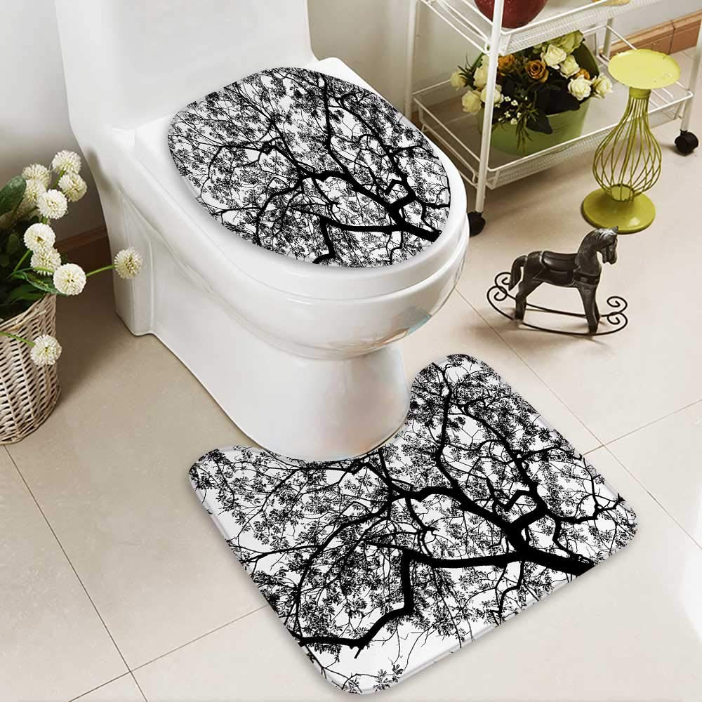 SOCOMIMI Lid Toilet Cover Forest Tree Branches Modern Decor Spooky Horror Movie Themed Print Black and White Personalized Durable