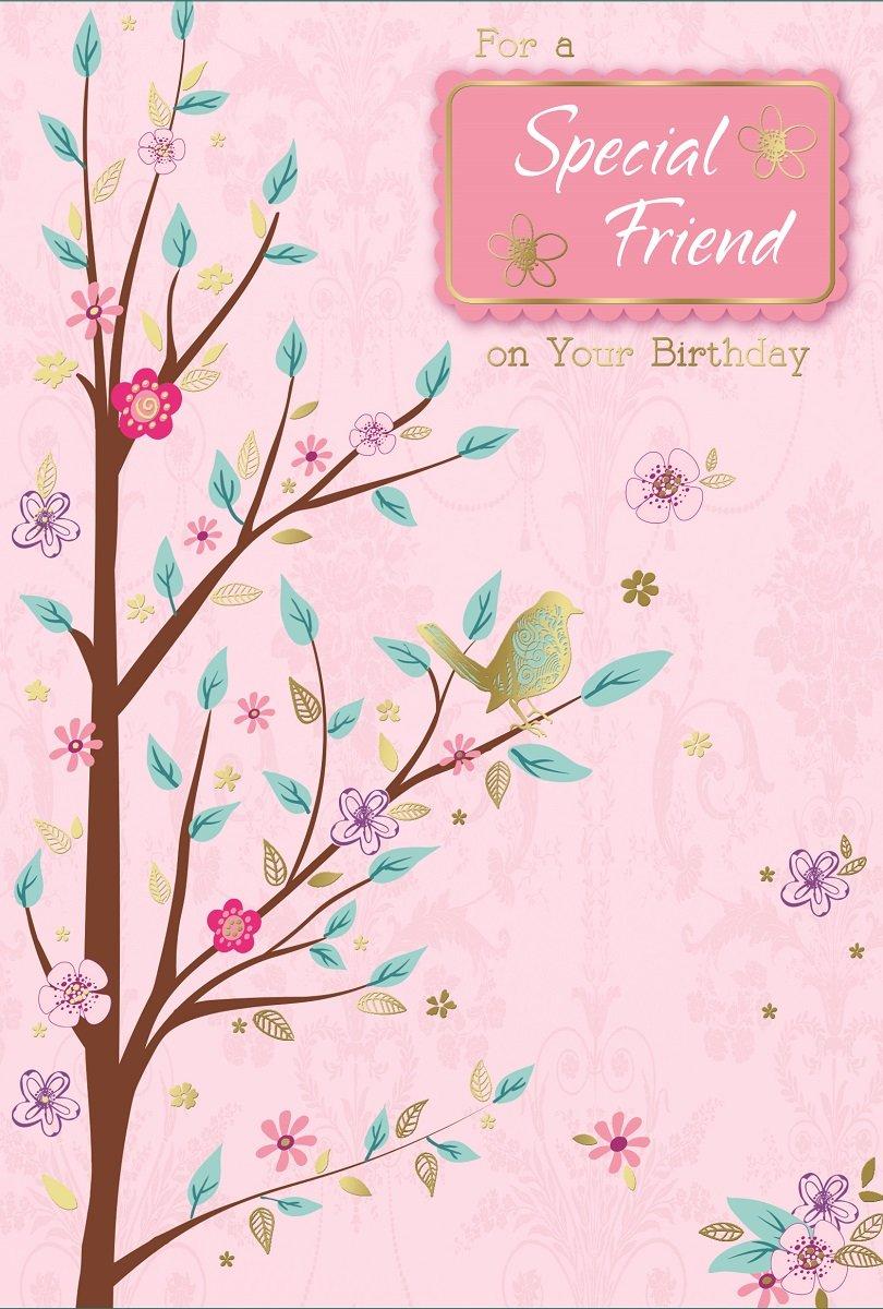 Female friends birthday cards amazon special friend birthday card pink blossoms big tree gold bird 775 x m4hsunfo