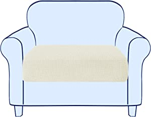 Subrtex Stretch Cushion Cover Couch Cushion Slipcover RV Seat Covers Chair Loveseat Sofa Cushion Protector Spandex Elastic Furniture Protector for Seat (Small,Ivory)