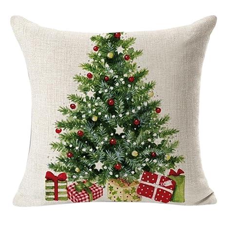 Amazon.com: Tsmile Funda de almohada de lino cuadrado para ...