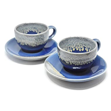 Set of 2 Porcelain Coffee Espresso Shot Cup & Saucer Set Mini Teacup Ceramic Art Stoneware Gifts, 2 oz. (Blue)