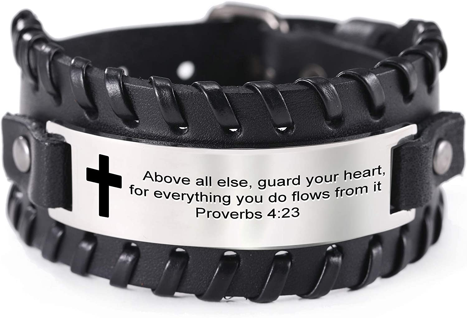 VASSAGO Men's Leather Bracelet with Bible Verse Proverbs 4 23 Christian Scripture Stainless Steel Engraved Cross Pattern Wristband Inspirational Gifts