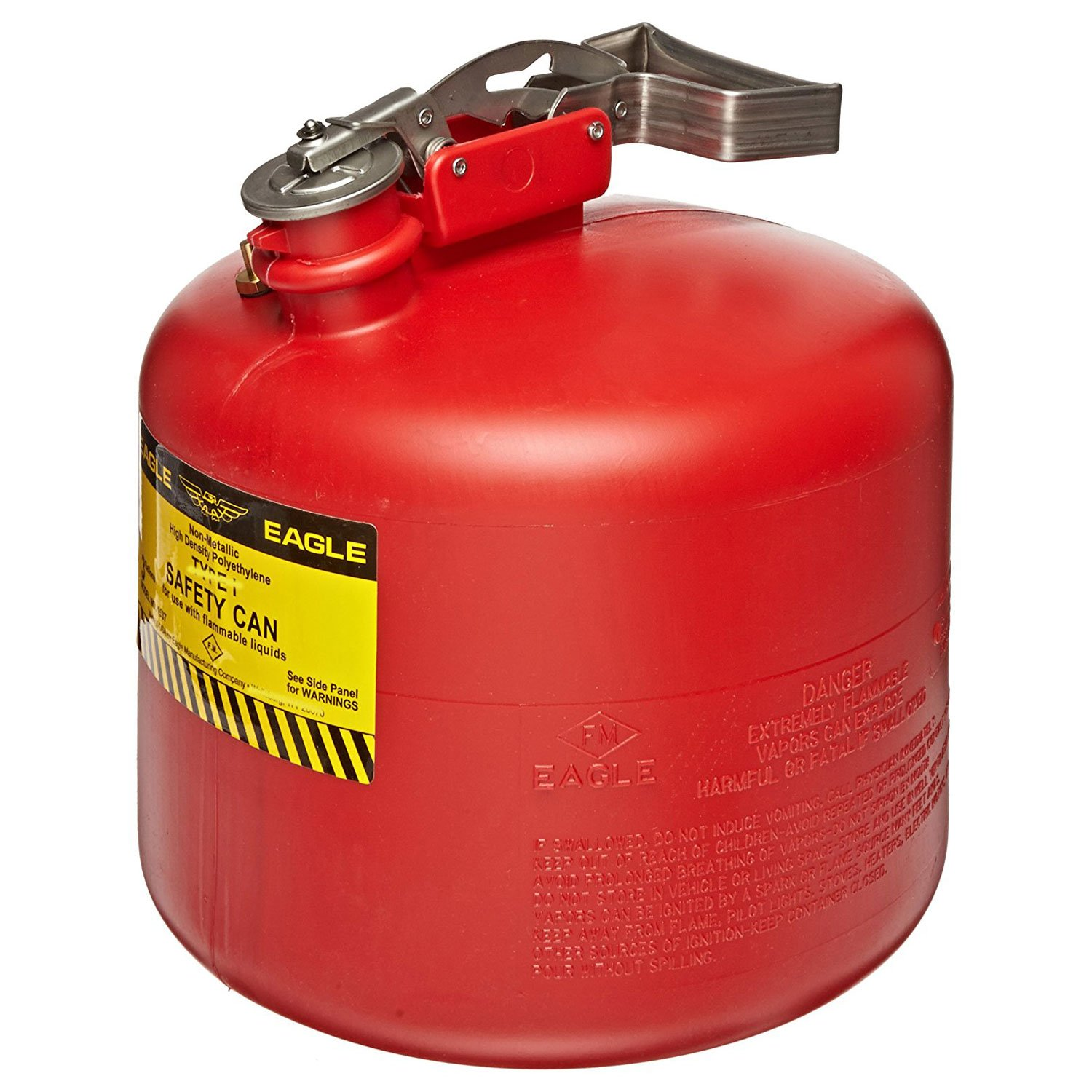 Eagle 1537 Type I Safety Can, 12-1/2'' Width x 13'' Depth, 3 Gallon Capacity, Red