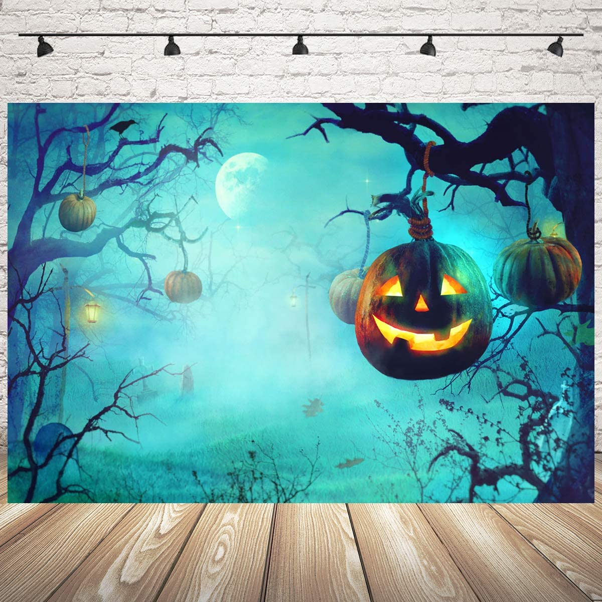 Mocsicka Halloween Backdrop 7x5ft Vinyl Halloween Night Horror Pumpkin Lantern Photo Backdrops All Saints Day Photo Studio Prop