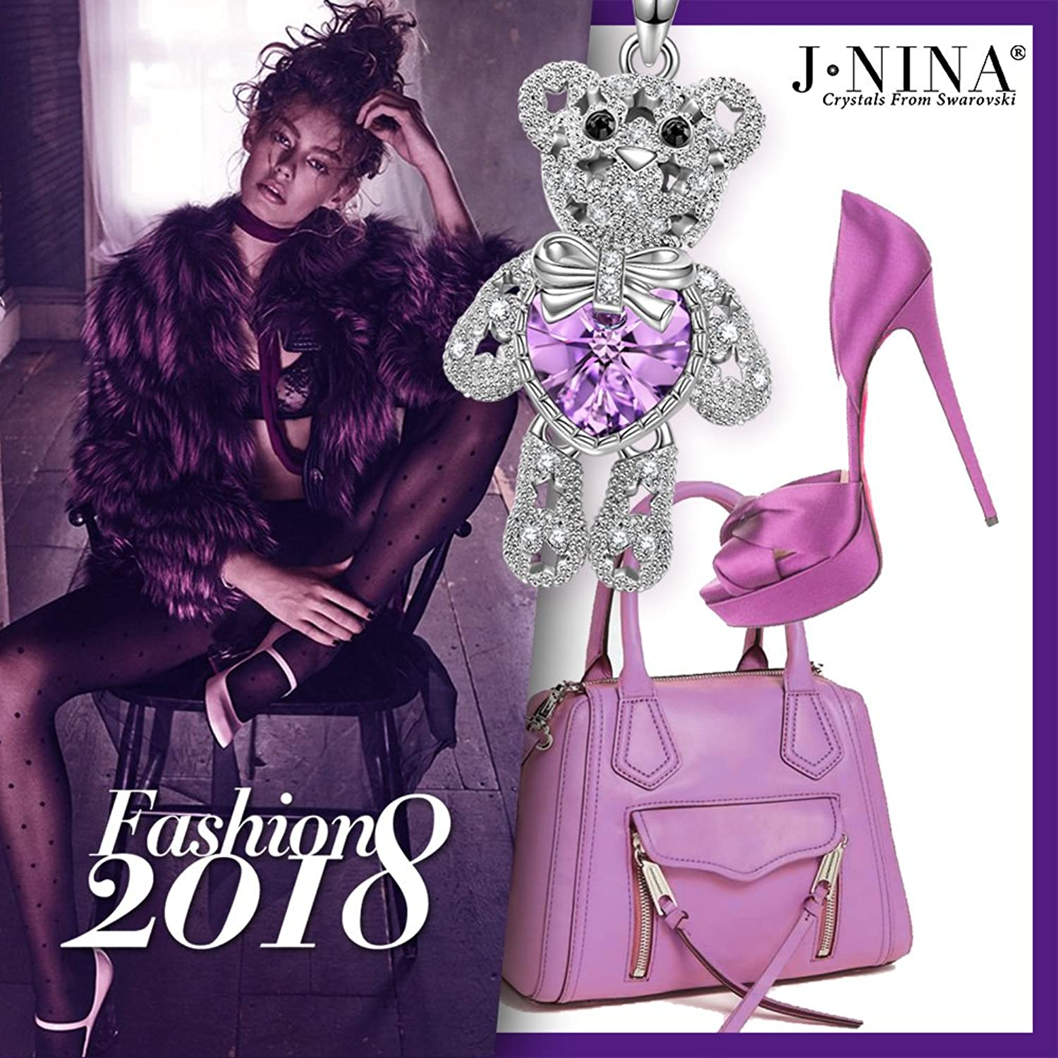 J NINA Bucci Bear-Be Optimistic Bear Pendant Necklace with Crystals from Swarovski - Give you warmth, strength and courage