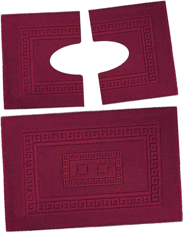 Casatessile Set 3 alfombras de Esponja de baño. 1 60X90 cm + 2 wcredonda 60x45 cm. Torino - Bordeaux