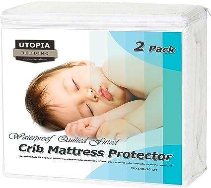 Protector De Colchón Impermeable Para Cuna - (Paquete de 2) - Hipoalergénico Protector Colchón