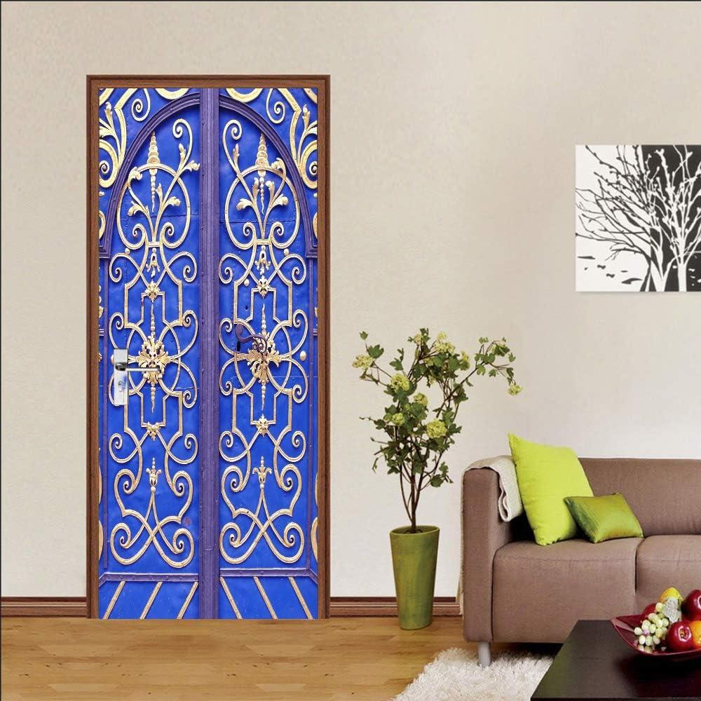 3D Puerta Mural Hierro esqueleto azul 95x215cm Sala de Estar niños Cocina Sala de Baño Puerta Fotos de póster Autoadhesivo Pegatina extraíble Vinilo Papel Pintado Arte Decorativos para Puerta Pared