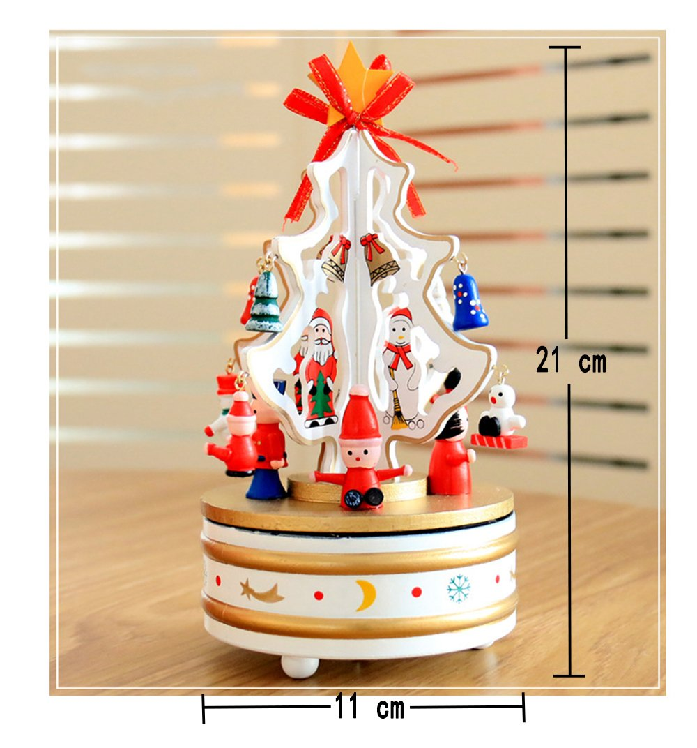 Christmas Decorations Christmas Tree Wooden Rotating Music Box Desktop Decoration Christmas Gifts (white) by HorBous (Image #1)