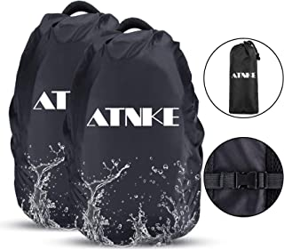 ATNKE 2 Pieces Waterproof Backpack Rain Cover with Elastic Buckle for Hiking,Camping,Cycling,Outdoor Activities/(S:18-25L,M:26-40L,L:41-55L)/Black/S
