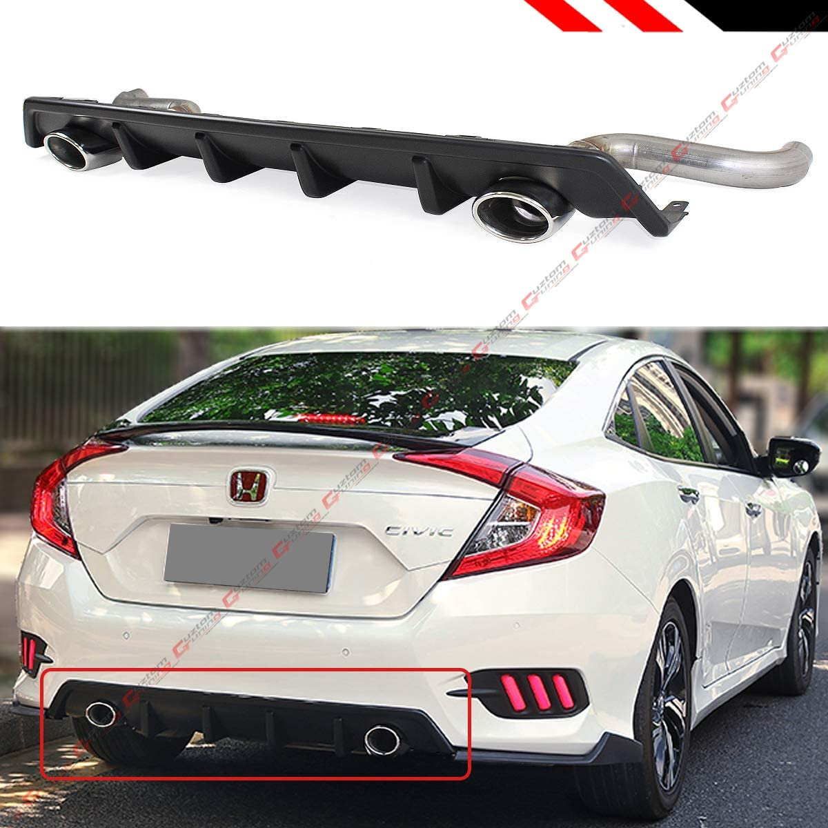 Fits for 2016-2018 Honda Civic 4 Door Dual Exhaust Shark Fin Rear Bumper Diffuser Axle Back Muffler Pipes