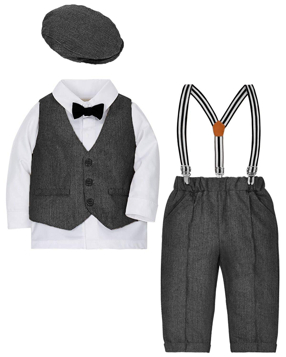ZOEREA Baby Boy Suit Outfits Set,3pcs Long Sleeves Gentleman Romper Jumpsuit & Vest Coat & Berets Hat with Bow Tie (Grey, Label 110/Age 30-42Months) by ZOEREA