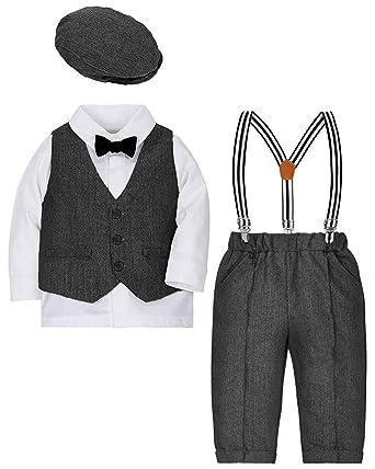 a6a9f5573 ZOEREA Baby Boy Suit Outfits Set,3pcs Long Sleeves Gentleman Romper  Jumpsuit & Vest Coat & Berets Hat with Bow Tie