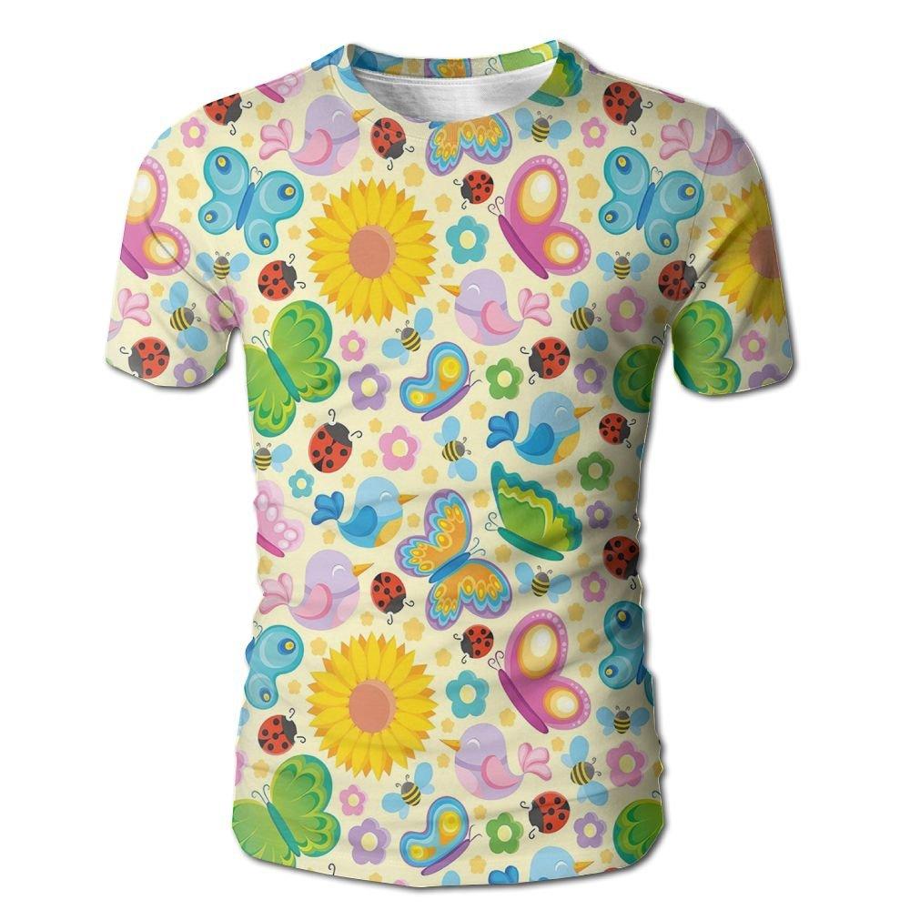 Edgar John Spring Themed Vivid Colored Seasonal Elements Blooming Flowers Ladybugs Bees Birds Men's Short Sleeve Tshirt L