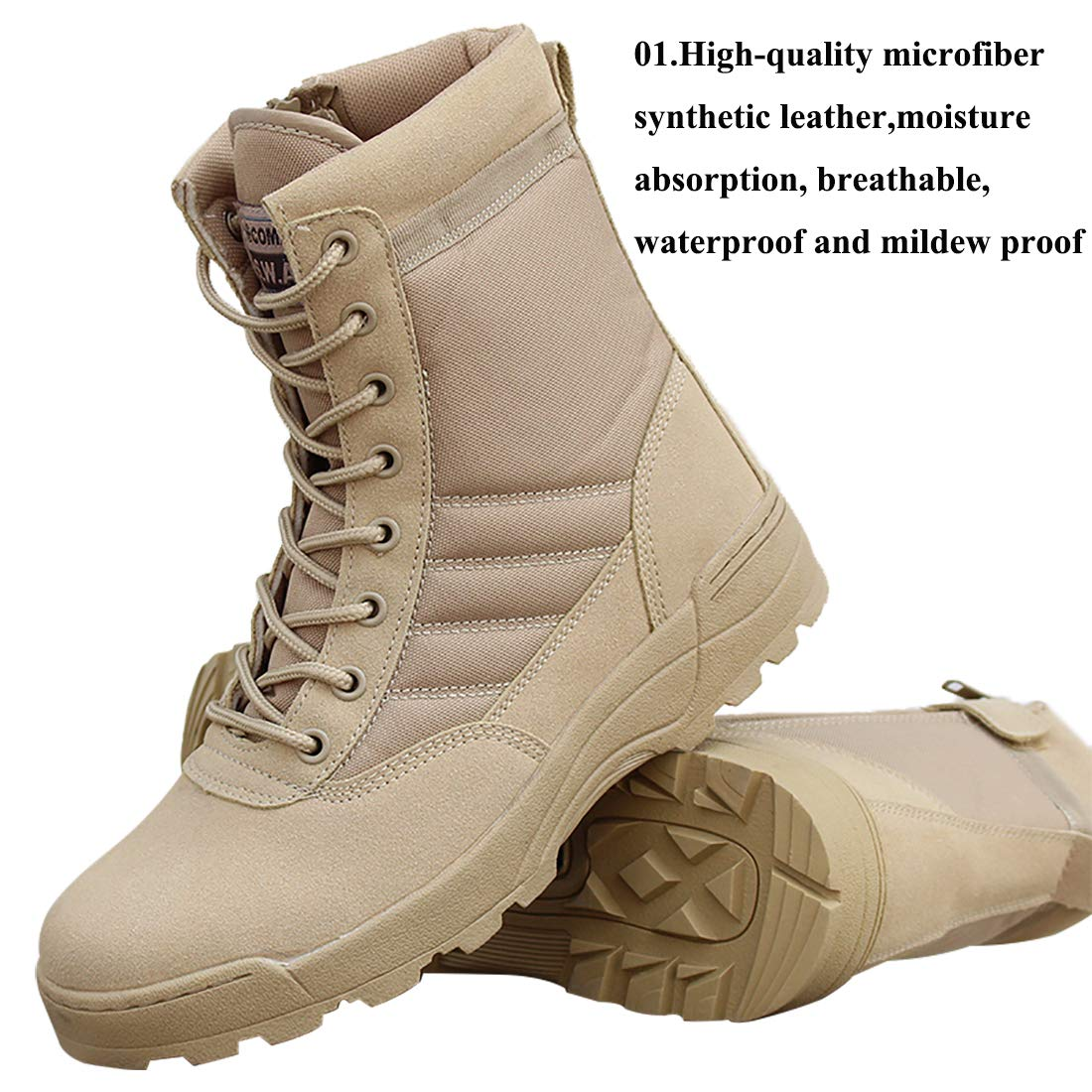 KARKEIN Military Tactical Side Zipper Lace Up Combat Boots Breathable Desert Outdoor Hiking Shoes for Men and Women