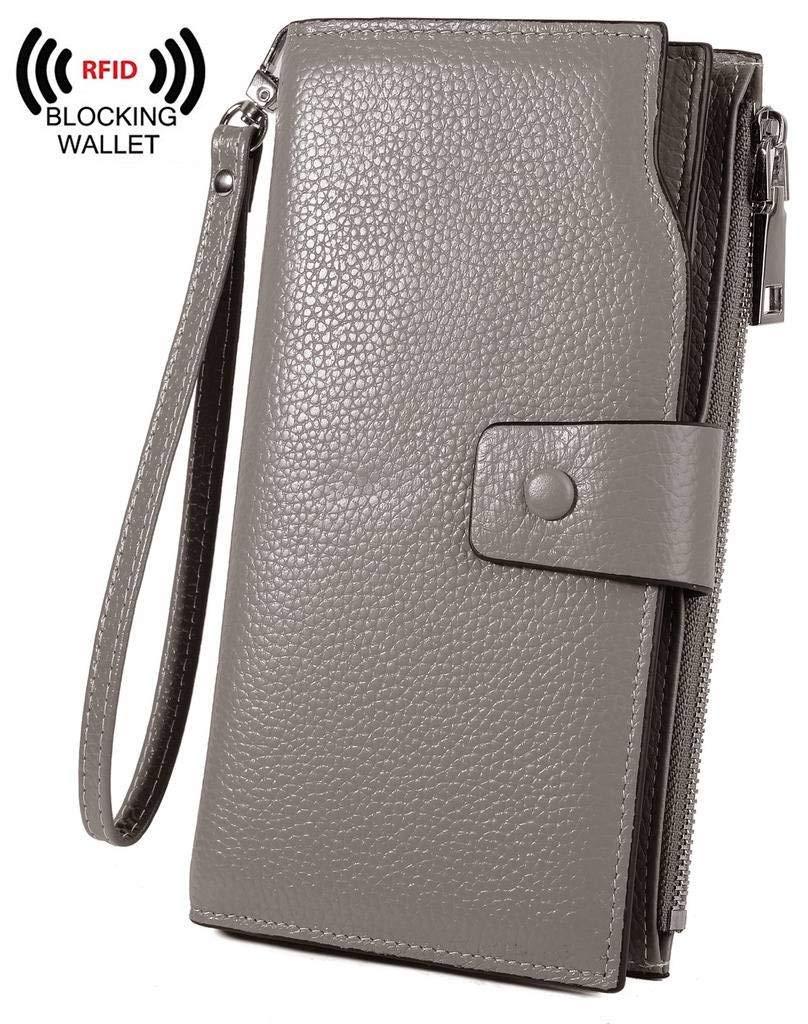 YALUXE Women's RFID Blocking Large Capacity Luxury Wax Genuine Leather Clutch Wallet Multi Card Organizer Wristlet Grey