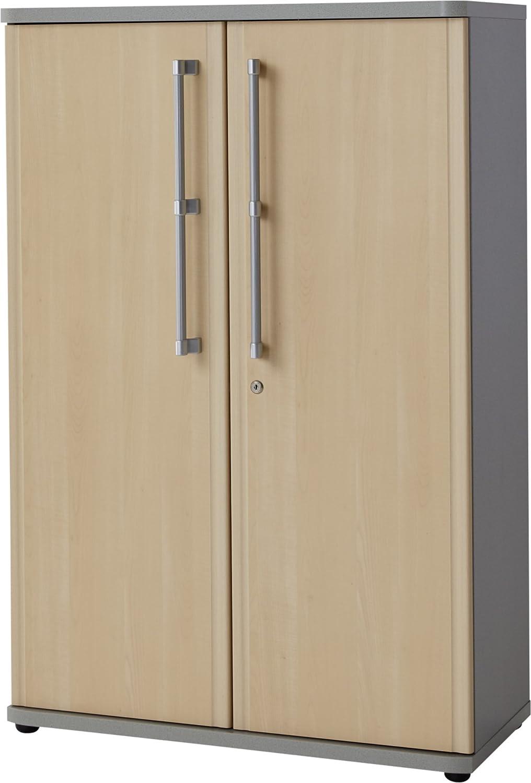 Germania 0657-42 abschließbarer Aktenschrank GW-Profi, 80 x 112 x 38 cm, Ahorn-Nb. Silber