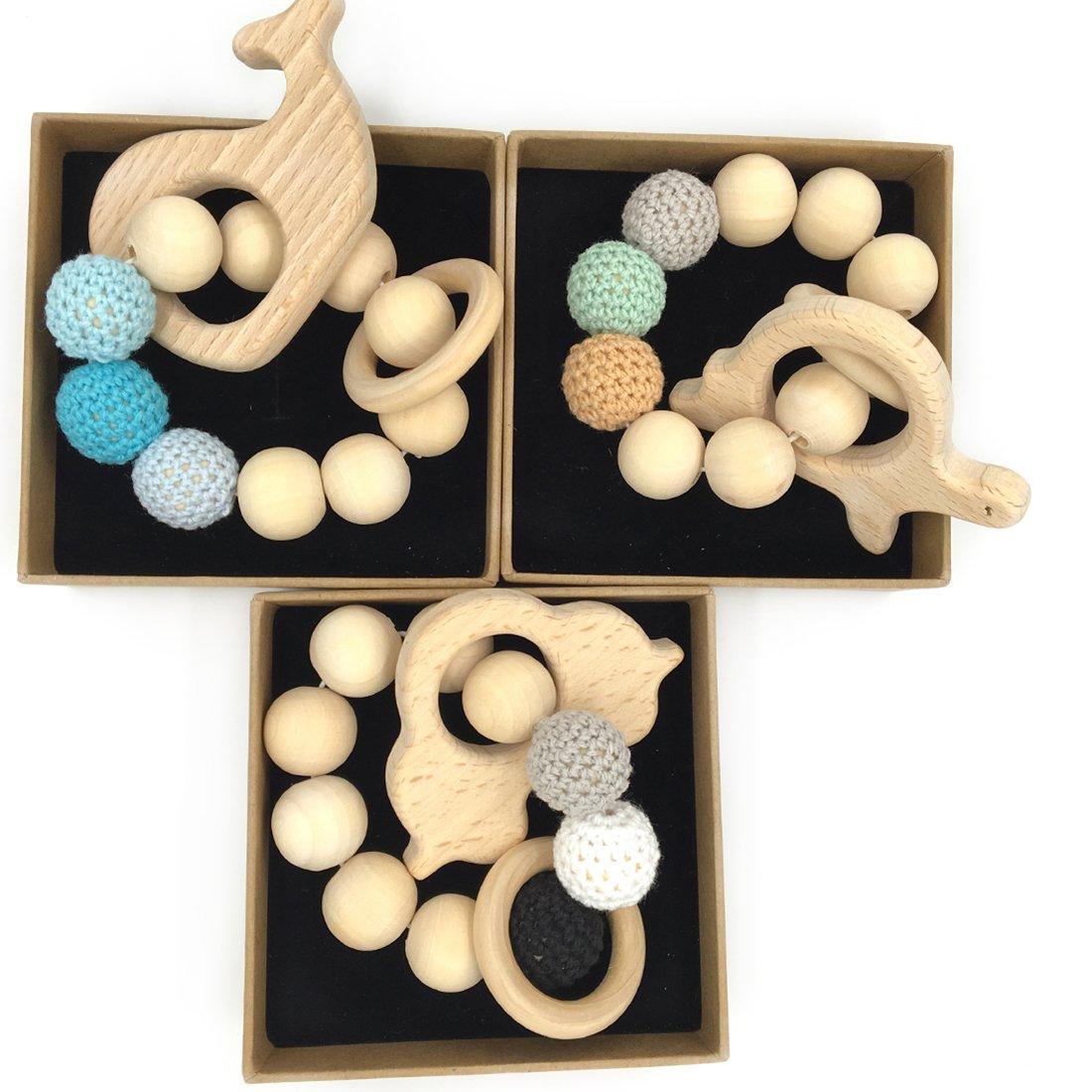 Couleur 10 Coskiss 3Pcs B/éb/é Bracelet en bois Teether Amigurumi Eco-friendly Baby Dentition Jouets Enfant Chew Bangle Shaped Rattle Cadeau de No/ël