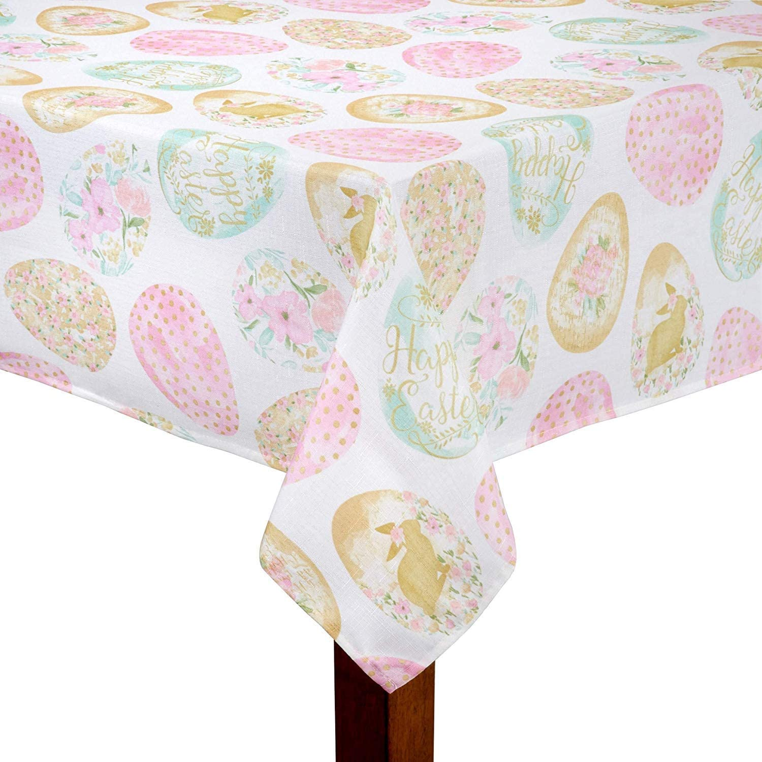 Elrene Home Easter Wishes and Blossoms Print Fabric Tablecloth 60 x 144 Rectangle//Oblong