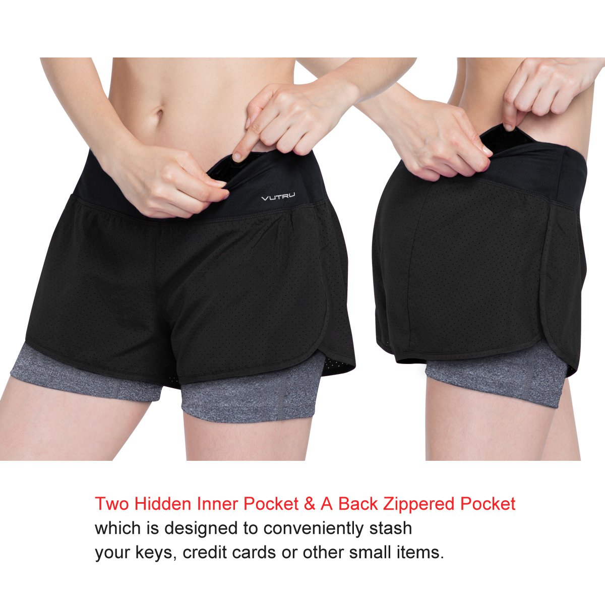 b2be87db6699 VUTRU Womens Running Workout Shorts with Liner 2 in 1 Athletic Sport Shorts  Running Shorts