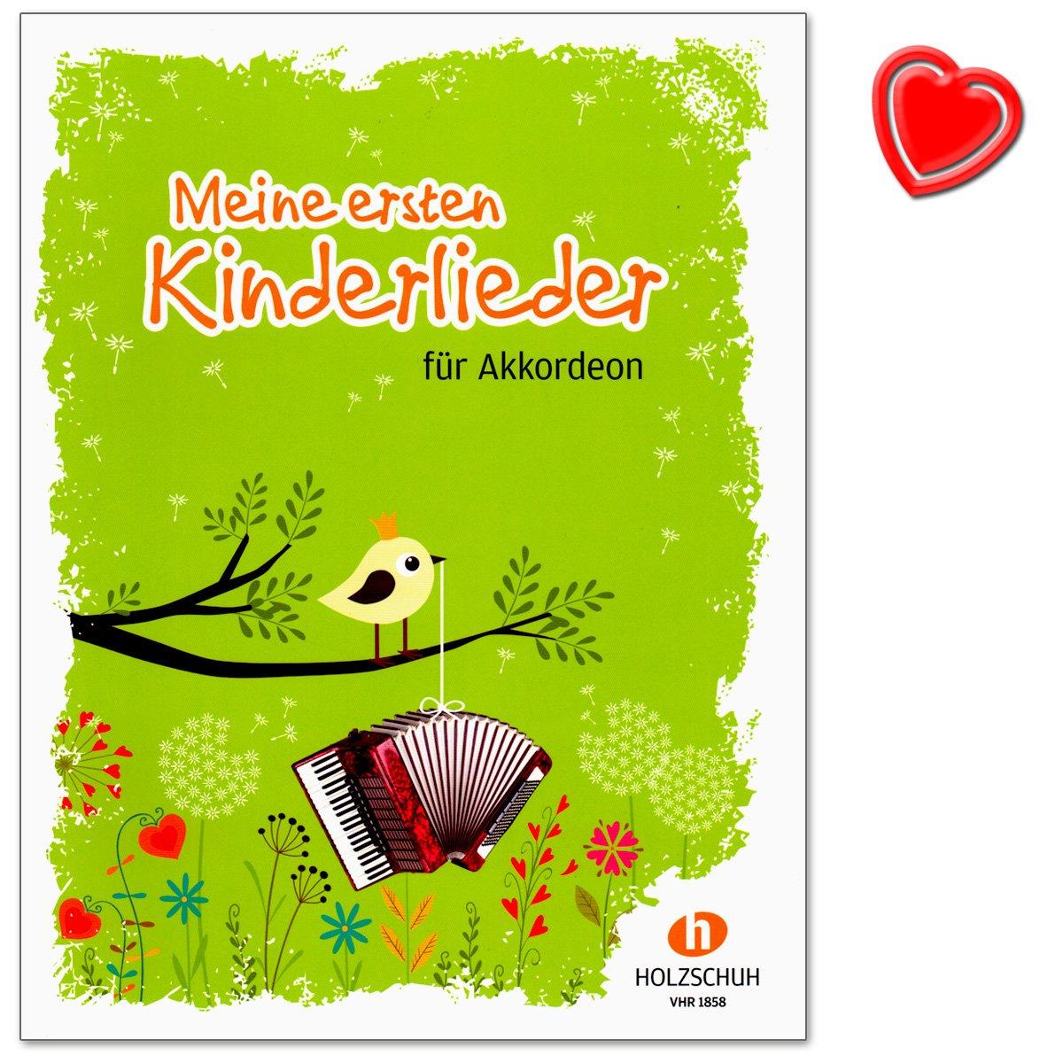 Mes premiers enfants chansons–27enfants chansons pour les cours début à la Accordéon–Note livre avec cœur Note colorée Pince VHR Alfons Holzschuh